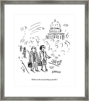 A Woman And Man Speak As They Walk Framed Print by David Sipress
