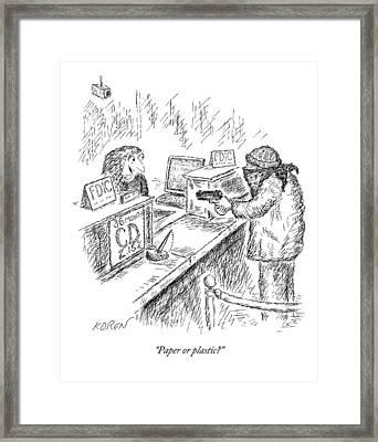 A Woman Behind A Bank Register Speaks To A Man Framed Print by Edward Koren