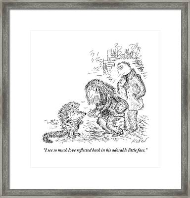 A Woman Bends Down To See An Ugly Lizard That Framed Print by Edward Koren