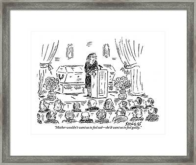 A Woman Dressed In Black Speaks At Her Mother's Framed Print by David Sipress