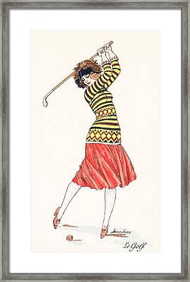 A Woman In Full Swing Playing Golf Framed Print by French School