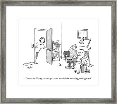 A Woman Interrupting A Cartoonist Working Framed Print by Robert Leighton