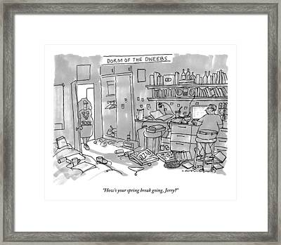 A Woman Is Seen Walking Into A Messy Room Talking Framed Print by Michael Crawford