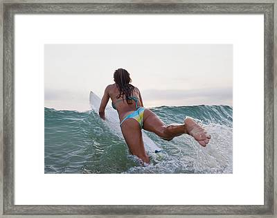 A Woman On A Surfboard Tarifa, Cadiz Framed Print by Ben Welsh