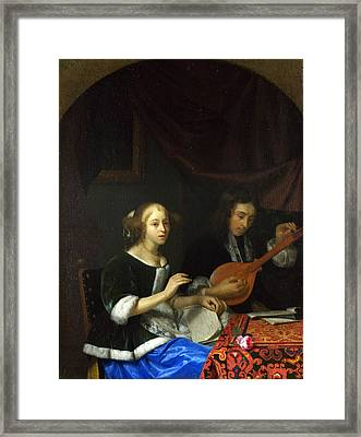 A Woman Singing And A Man With A Cittern Framed Print by Godfried Schalcken