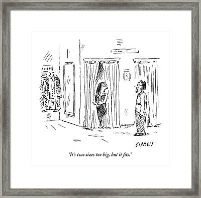A Woman Speaks To Her Husband While Peering Framed Print by David Sipress