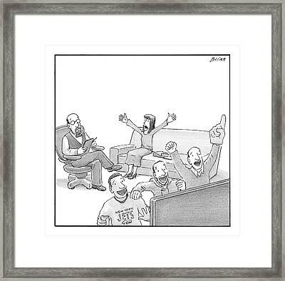 A Woman Talks Angrily To A Therapist While Others Framed Print by Harry Bliss