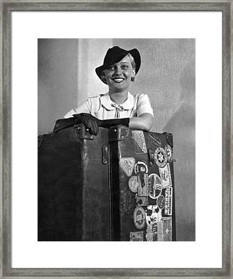 A Woman With Her Steamer Trunk Framed Print by Underwood Archives