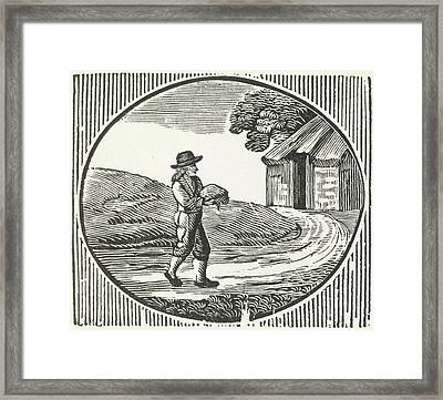 A Woodcut Of A Man Carrying A Package. Framed Print by British Library