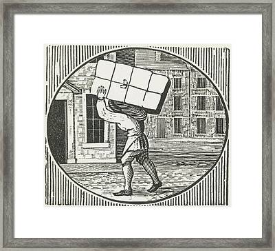 A Woodcut Of A Man Carrying A Parcel. Framed Print by British Library