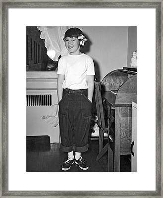 A Young Girl In Her Room Framed Print by Underwood Archives