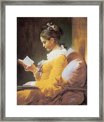 A Young Girl Reading Framed Print by Jean-Honore Fragonard