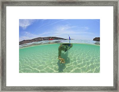 A Young Man Snorkeling Underwater Framed Print by Stuart Westmorland