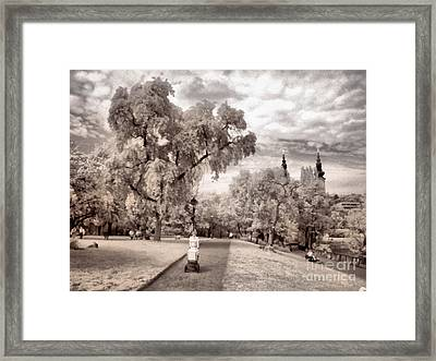 A Young Mother Posing With A Baby Stroller In A Park Framed Print by Odon Czintos