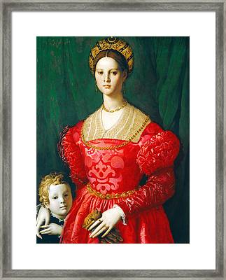 A Young Woman And Her Little Boy Framed Print by Bronzino