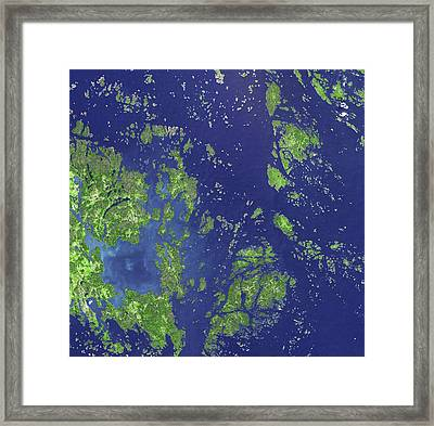 Aaland Islands Framed Print by Nasa/gsfc/meti/japan Space Systems/u.s Japan Aster Science Team