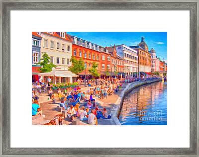 Aarhus Canal Digital Painting Framed Print by Antony McAulay