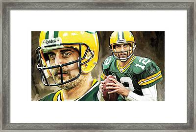 Aaron Rodgers Green Bay Packers Quarterback Artwork Framed Print by Sheraz A