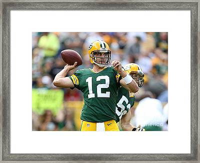 Aaron Rodgers Framed Print by Marvin Blaine