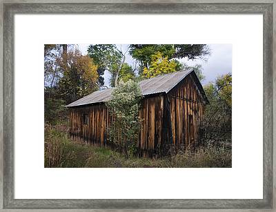 Abandoned Wood Building With Fall Colors Framed Print by Dave Dilli