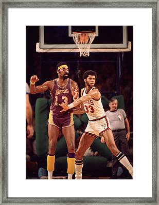 Abdul Jabbar Defends Wilt Chamberlain Framed Print by Retro Images Archive