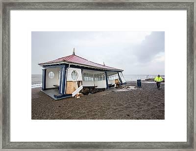Aberystwyth Storm Damage Framed Print by Ashley Cooper