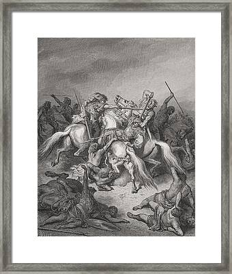 Abishai Saves The Life Of David Framed Print by Gustave Dore