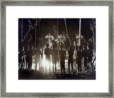 Aborigines At Corroboree Framed Print by Underwood Archives