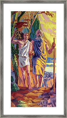 Abraham Going To Offer Isaac His Son Framed Print by Anonymous
