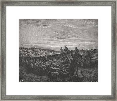 Abraham Journeying Into The Land Of Canaan Framed Print by Gustave Dore