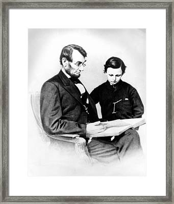Abraham Lincoln And Tad Framed Print by Anonymous