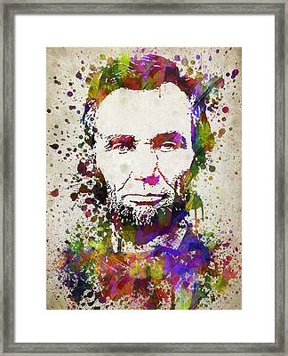Abraham Lincoln In Color Framed Print by Aged Pixel