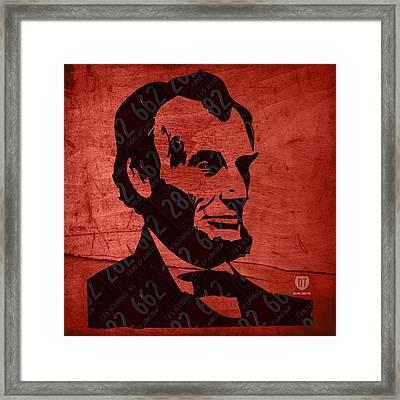 Abraham Lincoln License Plate Art Framed Print by Design Turnpike