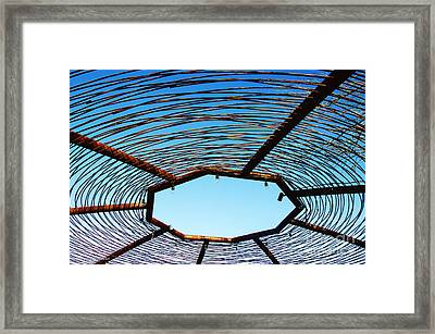 Abstract Against The Blue Sky Framed Print by Nancy E Stein