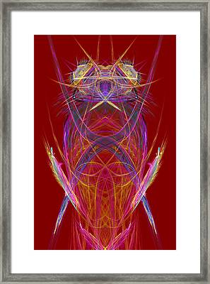 Abstract Alien Face On Red Background Framed Print by Keith Webber Jr