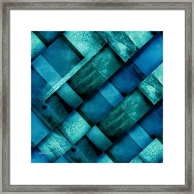 abstract art Blue Square Three Framed Print by Ann Powell