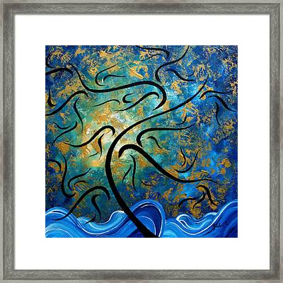 Abstract Art Gold Textured Original Tree Painting Peace And Desire By Madart Framed Print by Megan Duncanson