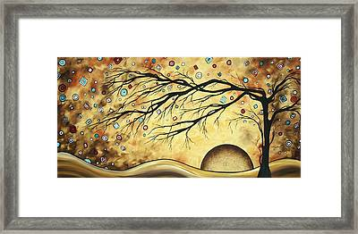 Abstract Art Metallic Gold Original Landscape Painting Colorful Diamond Jubilee By Madart Framed Print by Megan Duncanson