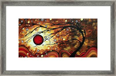 Abstract Art Original Circle Painting Flaming Desire By Madart Framed Print by Megan Duncanson