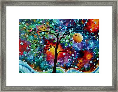 Abstract Art Original Colorful Landscape Painting A Moment In Time By Madart Framed Print by Megan Duncanson