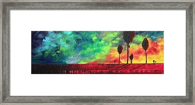 Abstract Art Original Colorful Landscape Painting Burning Skies By Madart  Framed Print by Megan Duncanson