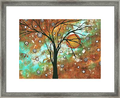 Abstract Art Original Landscape Painting Bold Circle Of Life Design Autumns Eve By Madart Framed Print by Megan Duncanson