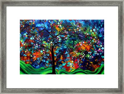 Abstract Art Original Landscape Painting Bold Colorful Design Shimmer In The Sky By Madart Framed Print by Megan Duncanson