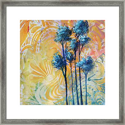 Abstract Art Original Landscape Painting Contemporary Design Blue Trees II By Madart Framed Print by Megan Duncanson