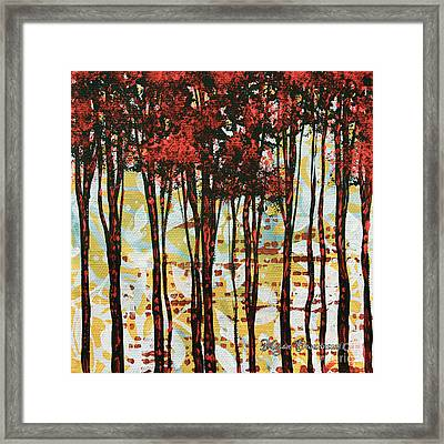 Abstract Art Original Landscape Painting Contemporary Design Forest Of Dreams I By Madart Framed Print by Megan Duncanson