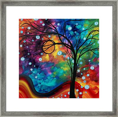 Abstract Art Original Painting Winter Cold By Madart Framed Print by Megan Duncanson