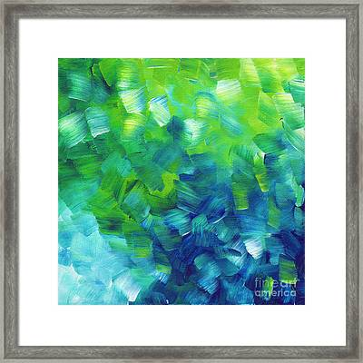 Abstract Art Original Textured Soothing Painting Sea Of Whimsy I By Madart Framed Print by Megan Duncanson