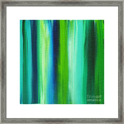 Abstract Art Original Textured Soothing Painting Sea Of Whimsy Stripes I By Madart Framed Print by Megan Duncanson