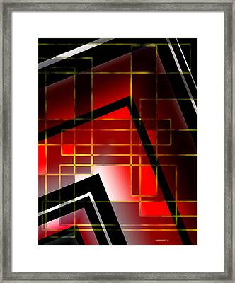 Abstract Art With Lines On Red  Framed Print by Mario Perez