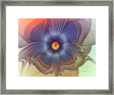 Abstract Blue Flower In Sunday Dress Framed Print by Karin Kuhlmann
